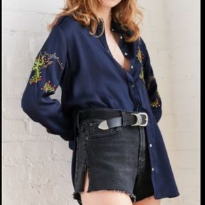 BDG UO Embroidered Cactus button Down Shirt Top